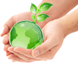 translucent green earth globe in a pair of hands